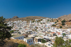Greek Village Lindos Stock Photo