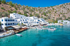 Greek village Loutro. A small village by the sea, near Chora Sfakia, Loutro, reached only by ship, on the southcoast of Crete / Greece Royalty Free Stock Images