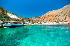 Greek village of Loutro, Chania, Crete. Greek village of Loutro, Chania, Crete, Greece Stock Image