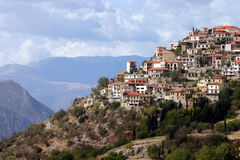 Greek Village on Mountain. The town of Arachova near Delphi in Greece Royalty Free Stock Images