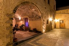 Greek village near Monemvasia on the night. Medieval traditional  Greek village near Monemvasia, Peloponnes Royalty Free Stock Photo