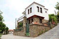Greek village Parthenonas street Royalty Free Stock Image