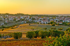 Greek village at sunset Royalty Free Stock Image