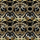 Greek vintage 3d vector seamless pattern. Baroque renaissance style abstract geometric background. Floral gold ornament. Decorative elements. Greek key Stock Photography