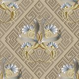 Greek vintage floral 3d seamless pattern. Light beige vector abs. Tract background. Meander rhombus frames, 3d white flowers, gold swirls, striped leaves, greek Royalty Free Stock Photography