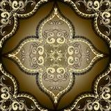 Greek vintage gold 3d floral vector seamless pattern. Ornamental arabesque ornate background. Repeat patterned modern backdrop. Elegance greek key meanders royalty free illustration
