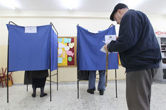 Greek Voters Head To The Polls For The General Election 2015 Stock Photo