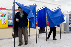 Greek Voters Head To The Polls For The General Election 2015 Stock Photography