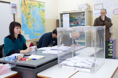 Greek Voters Head To The Polls For The General Election 2015 Royalty Free Stock Image