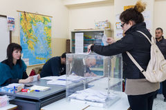 Greek Voters Head To The Polls For The General Election 2015 Stock Images