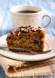 Greek walnut spice cake. And cup of coffee Stock Photography