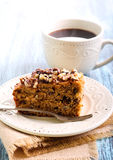 Greek walnut spice cake. And cup of coffee Royalty Free Stock Photo