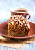 Greek walnut spice cake. And cup of coffee Royalty Free Stock Images