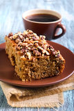 Greek walnut spice cake. And cup of coffee Royalty Free Stock Image