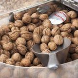 Greek Walnuts. On display at a Greek market stall stock photos