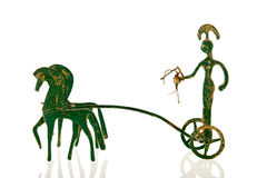 Greek Chariot. Greek war chariot with horses isolated over white background Royalty Free Stock Photos