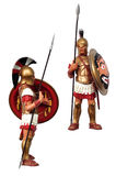 Greek warrior. Ancient greek warrior figure side and front view isolated Royalty Free Stock Photography