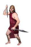 Greek warrior. One adult male greek warrior with swords over white Royalty Free Stock Image