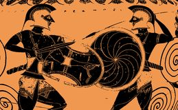 Greek warriors. Vector graphic representation of two greek fighting warriors in typical ancient greek painting style. Editable Eps file available Stock Images