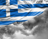 Greek waving flag on a bad day.  royalty free stock image