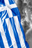 Greek waving flag on a bad day Royalty Free Stock Photos