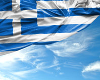 Greek waving flag on a beautiful day.  royalty free stock photography