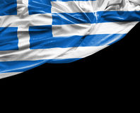 Greek waving flag on black background Royalty Free Stock Images