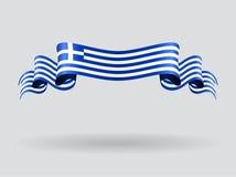 Greek wavy flag. Vector illustration. Royalty Free Stock Image