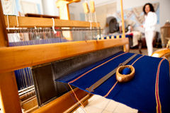 Greek Weaving Loom. With Blue Rug stock photo