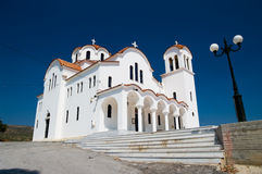 GREEK WHITE CHURCH Royalty Free Stock Photo