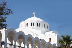 Greek white church on the island of Santorini Stock Photos