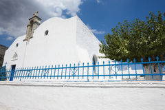 Greek white church in Komitades. Crete. Greece Stock Photography