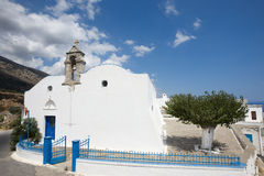 Greek white church in Komitades. Crete. Greece Royalty Free Stock Photo