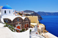 Greek white church in Oia, Santorini Stock Photography