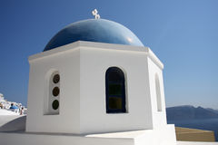 Greek white church in Oia village Stock Photo