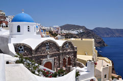 Greek white church in Oia village, Santorini Royalty Free Stock Photos