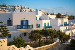 Greek white houses in sunset at Mykonos town, Mykonos, Greece Royalty Free Stock Photos