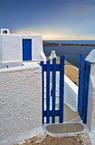 Greek wicket gate. Wicket gate and build in typical Santorini colors Stock Photography