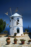 Greek Windmill. White windmill in Zakynthos island Greece royalty free stock photos