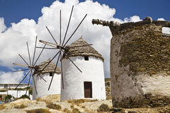 Greek Windmills. Two greek windmills on the island of Ios, Cyclades, Greece Royalty Free Stock Photo
