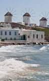 Greek Windmills at Mykanos Stock Photography