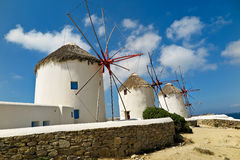 Greek Windmills. Old windmills in Mykonos, Greece.  Now a tourist attraction Royalty Free Stock Photography