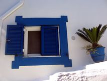 Greek window with open shutter royalty free stock images