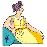 Greek woman. Art illustration of a typical greek woman from old times Stock Photos