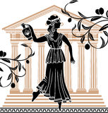 Greek woman with amphora. Temple and olive branches background Royalty Free Stock Photo
