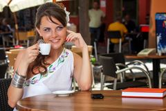 Greek woman in cafe Stock Image
