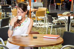Greek woman in the cafe Royalty Free Stock Images