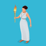 Greek woman with a torch in her hand. Woman archer. The Greek goddess - Artemis. Goddess of the Greek pantheon. Flat 3d. Isometric illustration. Symbol of Stock Photos