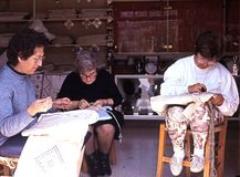 Greek women lace making, Cyprus. Royalty Free Stock Image