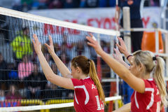 Greek Women Volleyball League game Aias vs Panathinaikos Stock Photos